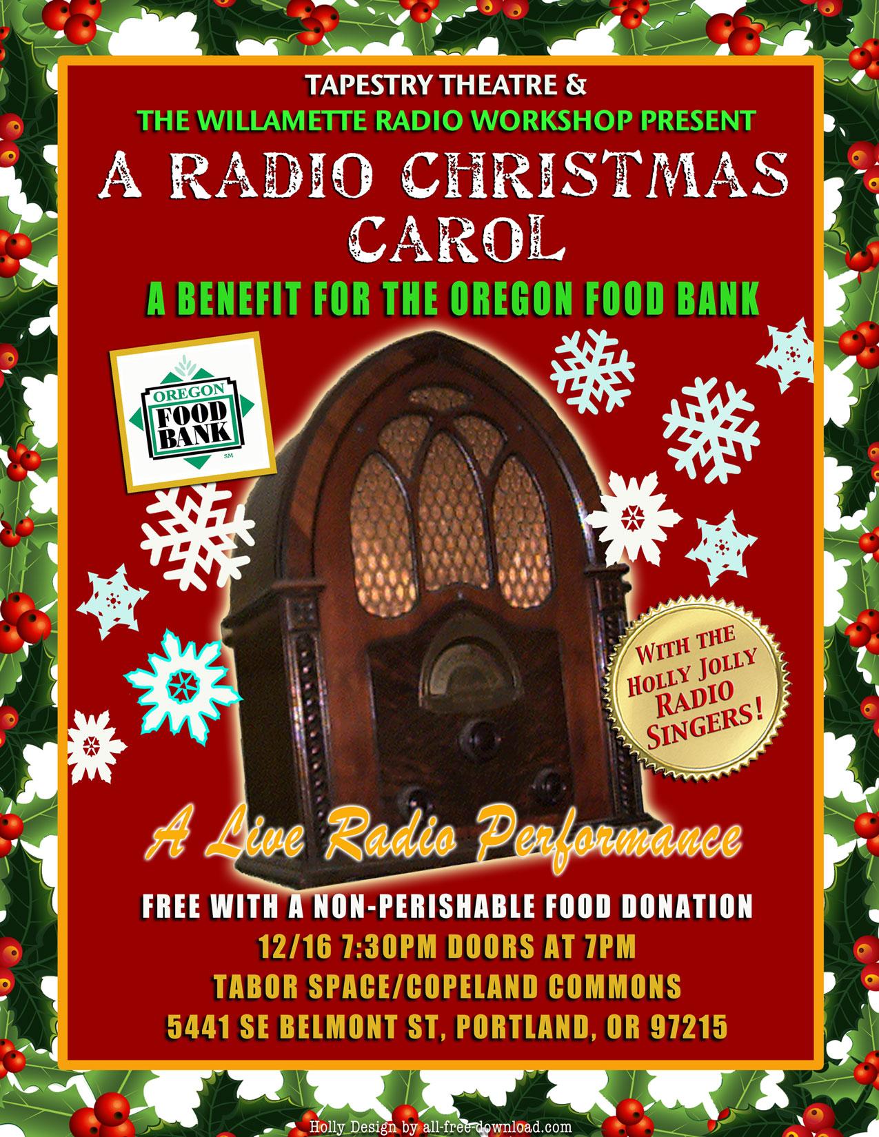 the original radio christmas carol at taborspace 1216 for the oregon food bank - Original Christmas Carol
